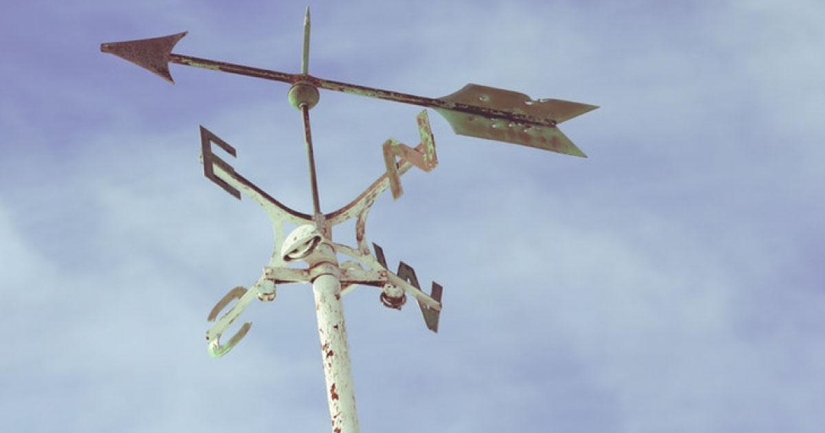 A imagem mostra a direção do vento (entre norte, sul, leste e oeste). Ilustra como não podemos controlar essa direção.